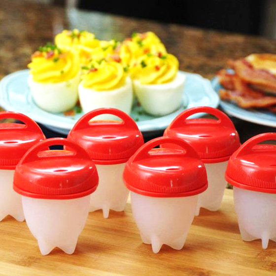 Set of 4: Non-Stick Silicone No-Peel Hard-Boiled Egg & Mini Omelet Pod Cookers