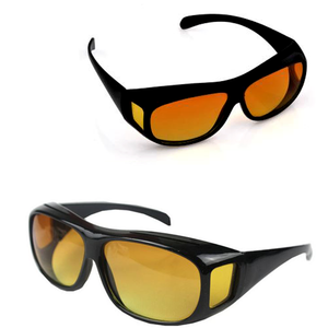 """HD Vision Day & Night Wrap Around Sunglasses""  With Universal Fit Visor Clip"