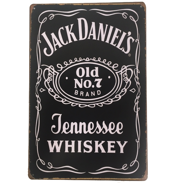 """Jack Daniels No 7 Tennessee Whisky"" Vintage Collectible Metal Sign Wall Art Decor With 4 Pre-drilled Holes"