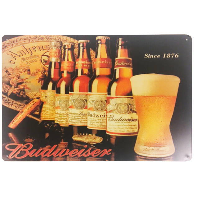 """Budweiser Beer Since 1976"" Vintage Metal Sign With 4 Pre-drilled Holes"