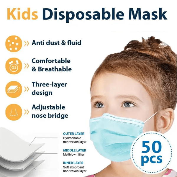 Buy 1 Box Get 1 Box Free: Kids' Disposable Face Masks (50Pcs/Box)