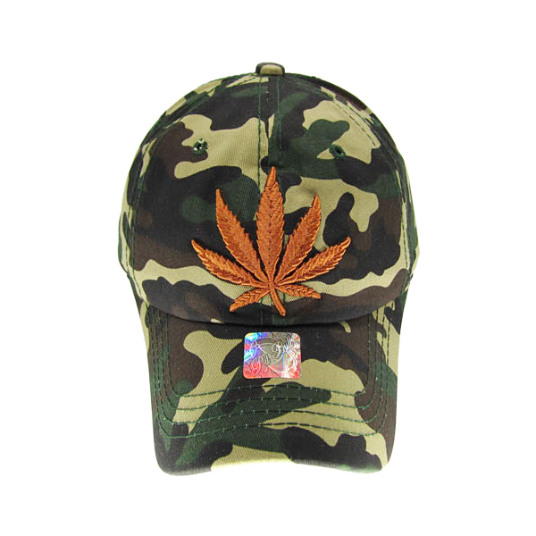 Camo Weed Leaf Stitched and Embroidered Baseball Cap