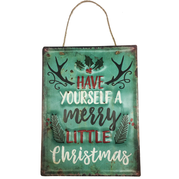 """Have Yourself A Merry Little Christmas"" Metal Sign Holiday Season Decor With Rope For Easy Hanging"