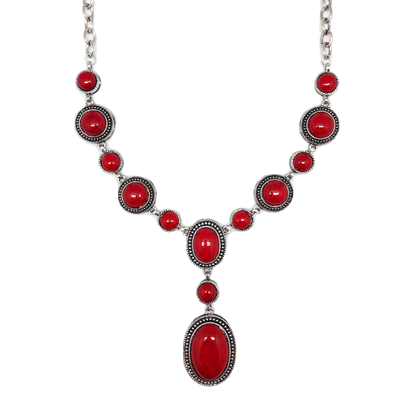 Vintage Red & Silver Statement Necklace