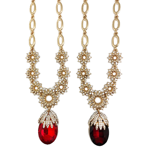 Elegant Crystal Tear Drop Statement Necklace