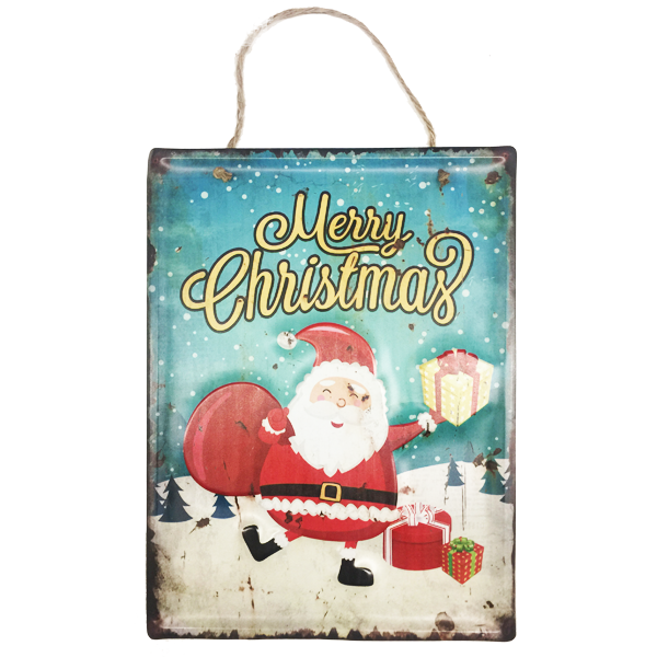 """Merry Christmas Santa With Presents"" Metal Sign Holiday Season Decor With Rope For Easy Hanging"