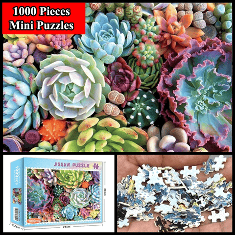 """Succulents"" 1000 Pieces Mini Jigsaw Puzzles"