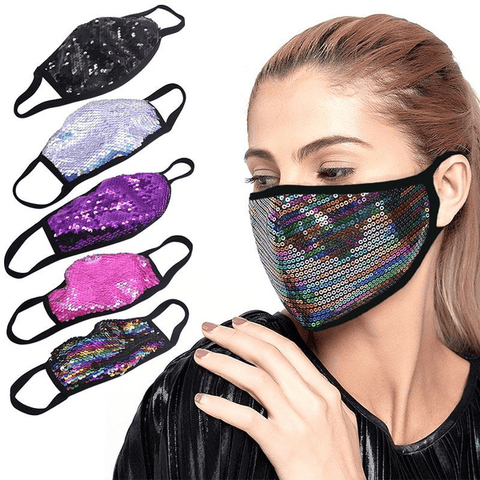 2 Pack: Reusable Sequin Changing Colour Fashion Mask