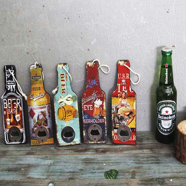 "Wooden Vintage Print ""Beer Bottle"" Opener"