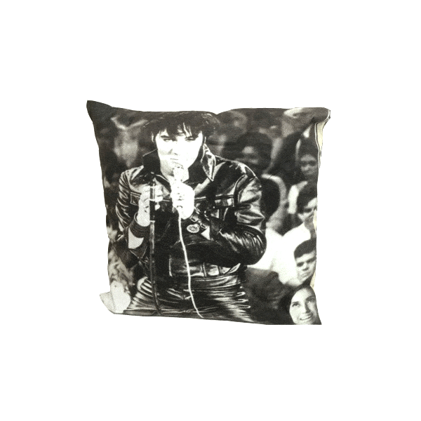 All Deals - Black & White Elvis With Mic Toss Cushion