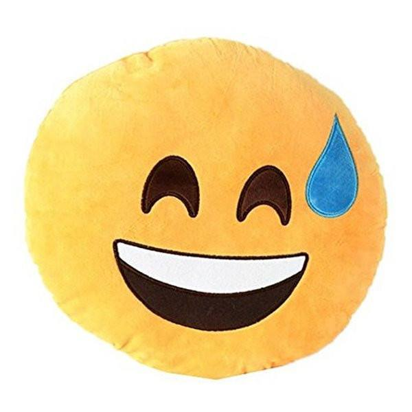 All Deals - Emoji Smiling Face W/ Cold Sweat Cushion Pillow