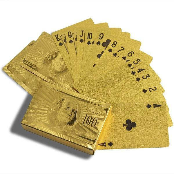 All Deals - Luxe 24-Karat Gold Foil American Money Playing Cards