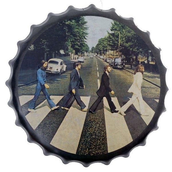 "All Deals - Vintage Bottle Cap Tin Sign -  ""Beatles At Abbey Road"""