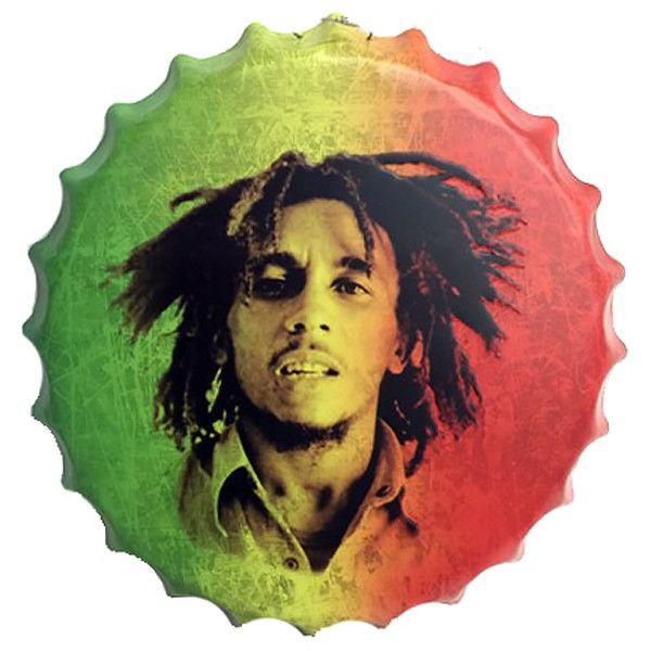 "All Deals - Vintage Bottle Cap Tin Sign -  ""Bob Marley"""