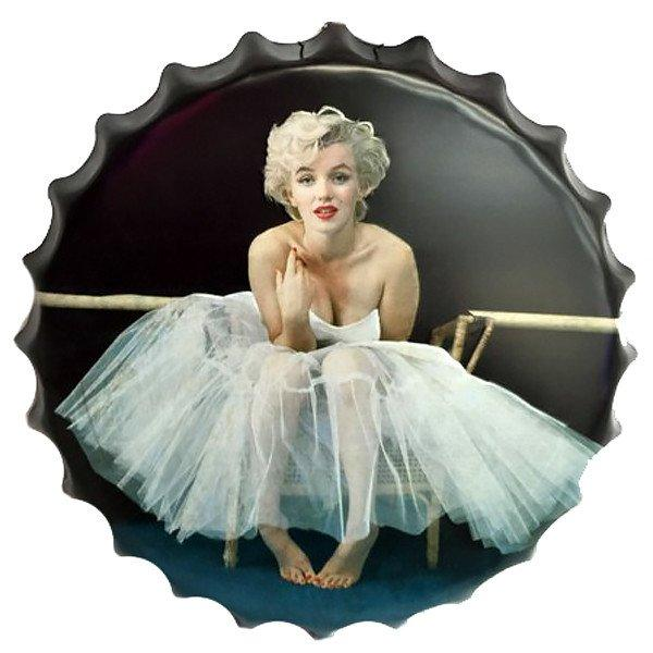 "All Deals - Vintage Bottle Cap Tin Sign -  ""sitting Marilyn Monroe"""
