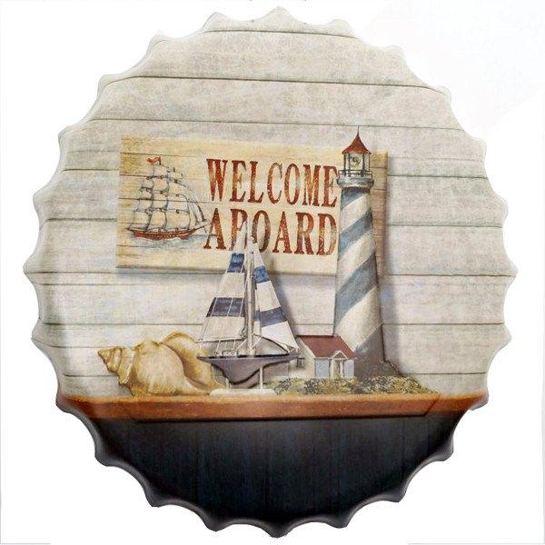 "All Deals - Vintage Bottle Cap Tin Sign -  ""Welcome Aboard"""