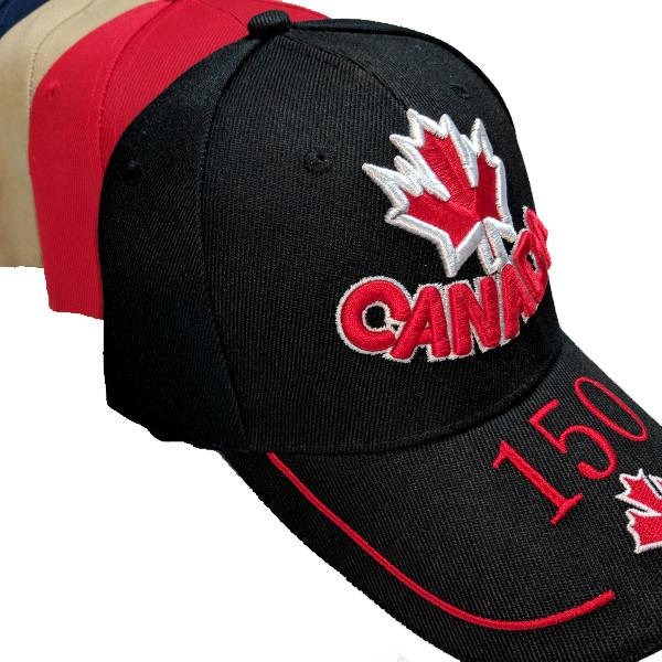 Apparel - Canada 150th Anniversary Red & White Maple Leaf Stitched & Embroidered Baseball Cap - 4 Colours Available!