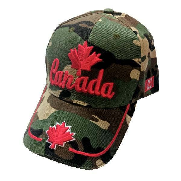 Apparel - Canada Limited Edition Camo Valiant Maple Leaf Stitched & Embroidered Baseball Cap