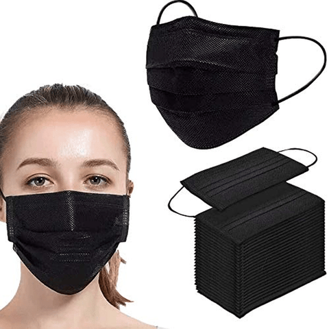 50 Pieces Black 3 Ply Disposable Face Mask