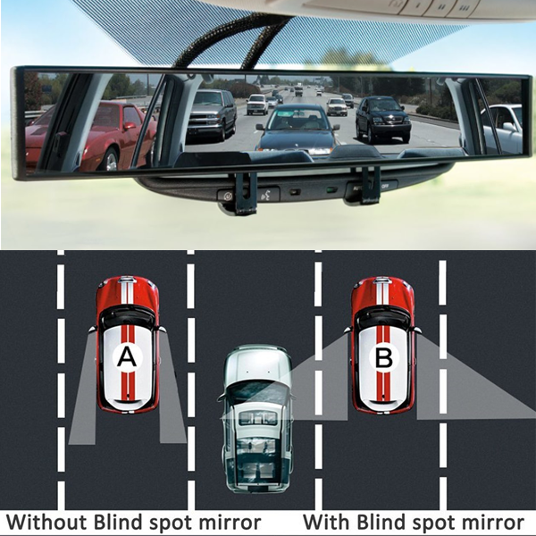 Snap On Convex Shaped Glare Reducing Blind Spot Mirror