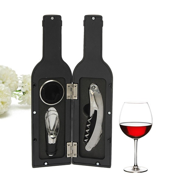 3 Piece Set: Novelty Bottle Shaped Wine Tool Gift Set
