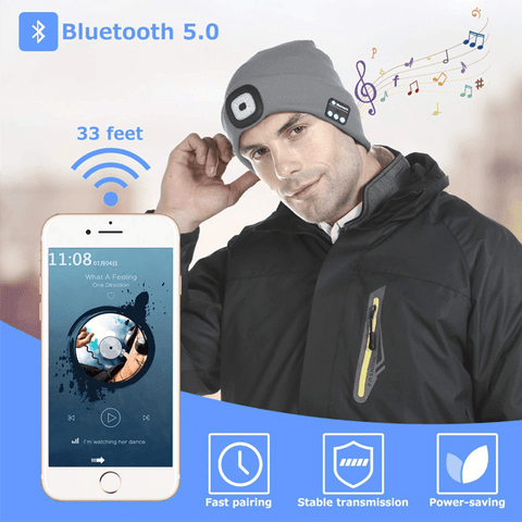2 in 1 Rechargeable Lighted Bluetooth Beanie