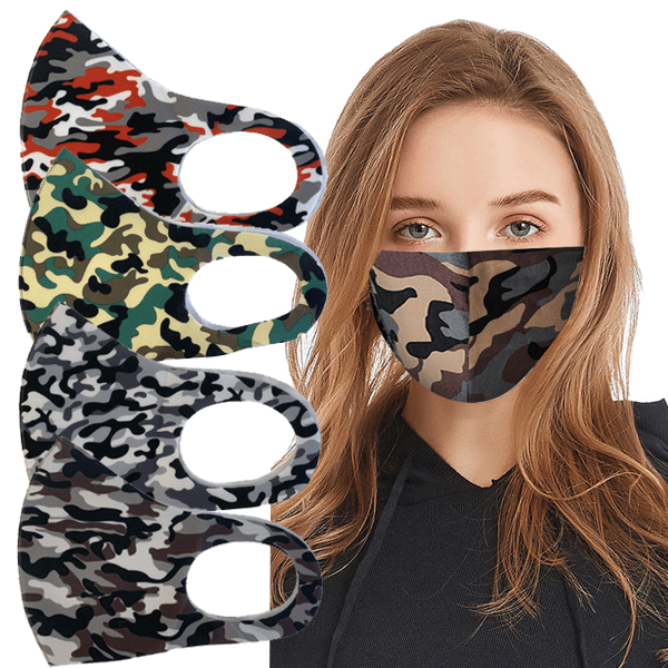 3 Pack: Camo Printed Face Mask - Assorted Style