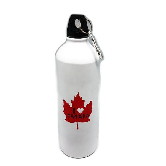 "Canada Collection - ""I Heart Canada"" Reusable Aluminium Water Bottle With Screw Cap And Carabiner"