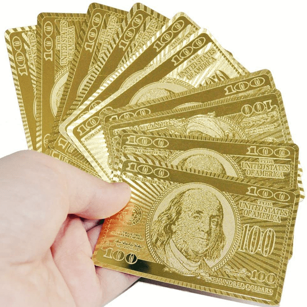 Luxe 24-Karat Gold Foil American Money Playing Cards