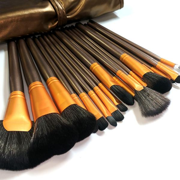 Cosmetics - 24-Piece Professional Bronze Make Up Brush Set With Leather Case