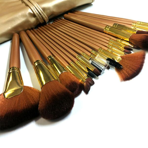 Cosmetics - 24-Piece Professional Golden Mocha Make Up Brush Set With Leather Case
