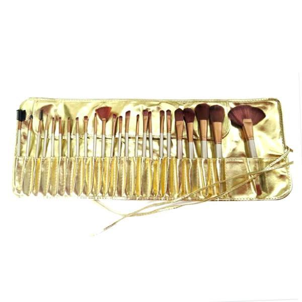 Cosmetics - 24-Piece Professional Royal Gold Make Up Brush Set With Leather Case