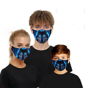 2 Pack: Washable Cotton Fire Wolf Fashion Mask with Filter Pocket