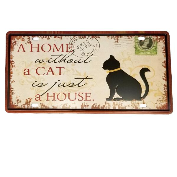 "Decor - ""A Home Without A Cat Is Just A House"" Vintage License Plate Wall Decor Sign"