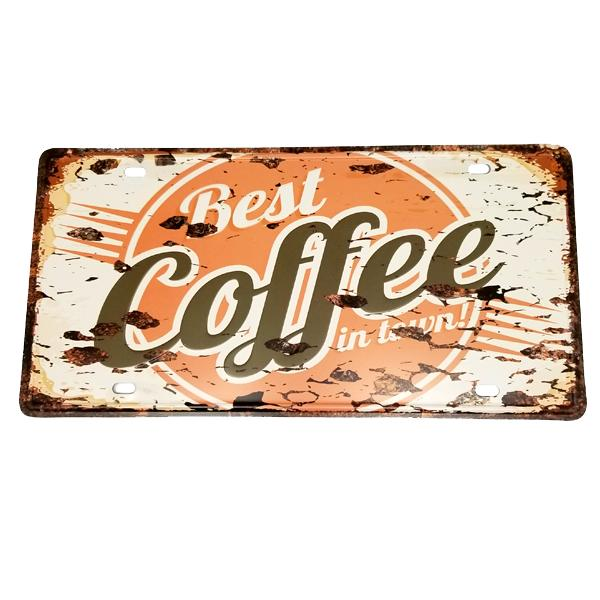"Decor - ""Best Coffee In Town!"" Vintage License Plate Wall Decor Sign"