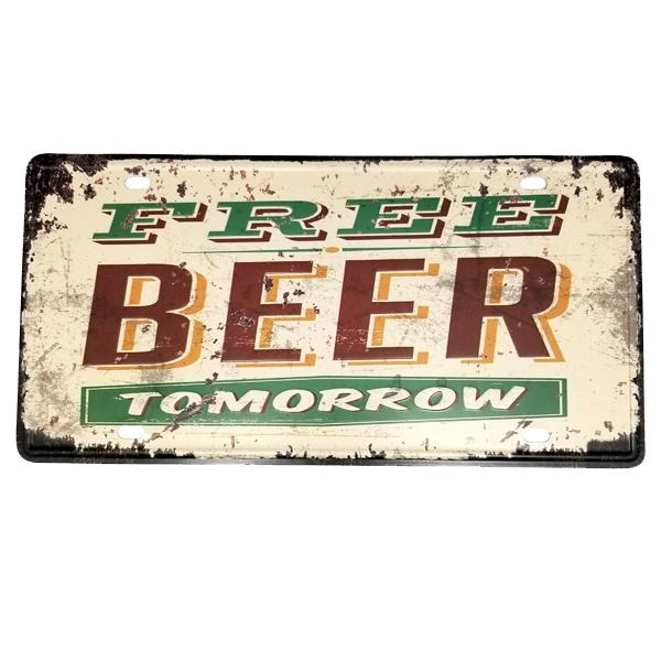 "Decor - ""Free Beer Tomorrow"" Vintage License Plate Wall Decor Sign"