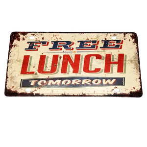 "Decor - ""Free Lunch Tomorrow"" Vintage License Plate Wall Decor Sign"