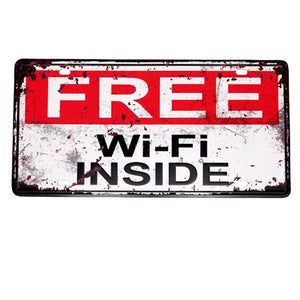 "Decor - ""Free Wi-Fi Inside"" Vintage License Plate Wall Decor Sign"