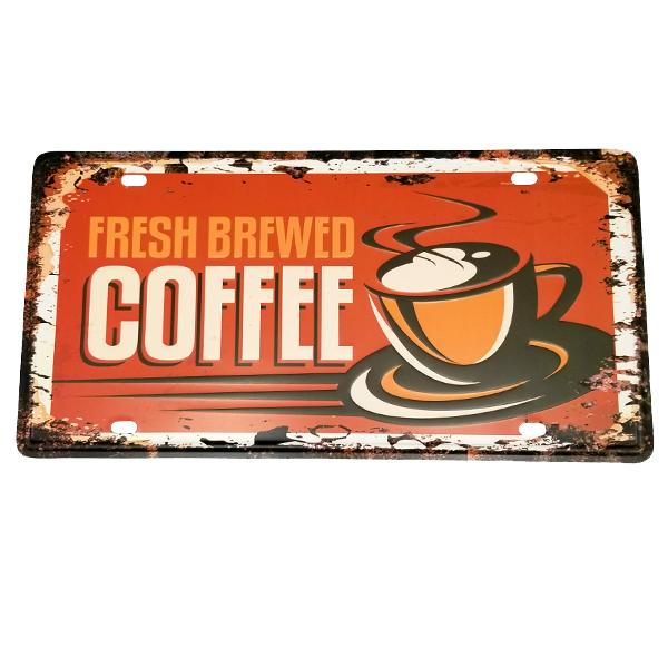 "Decor - ""Freshly Brewed Coffee"" Vintage License Plate Wall Decor Sign"