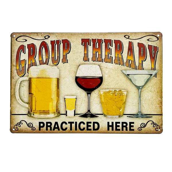 "Decor - ""Group Therapy Practiced Here"" Vintage Collectible Metal Wall Decor Sign"