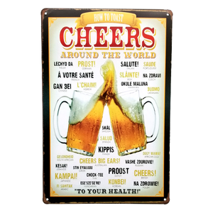"Decor - ""How To Toast Cheers Around The World"" Vintage Collectible Metal Wall Decor Sign"