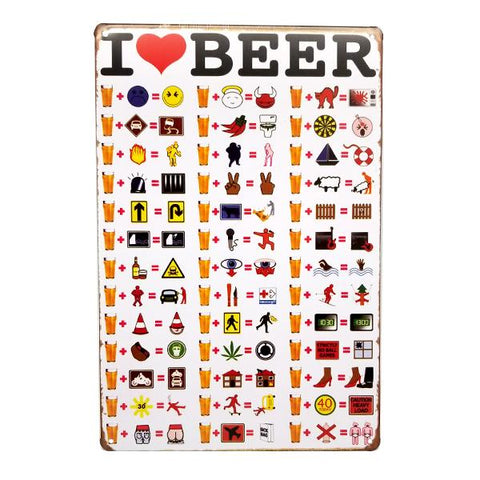 "Decor - ""I Heart Beer"" Arithmetic Vintage Collectible Metal Wall Decor Sign"