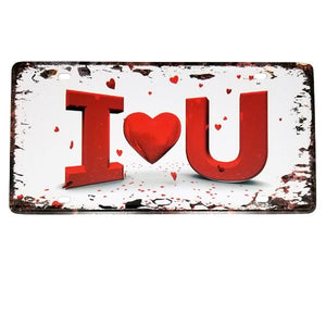 "Decor - ""I Heart U"" Vintage License Plate Wall Decor Sign"