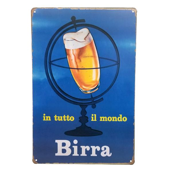 "Decor - ""in Tutto Il Mondo Birra"" Vintage Collectible Metal Wall Decor Sign"