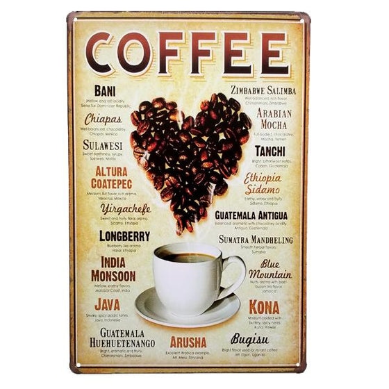Decor - International Coffee Blends Vintage Collectible Metal Wall Decor Sign