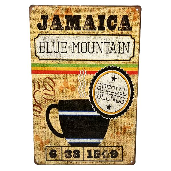 "Decor - ""Jamaica Blue Mountain Special Blends"" Vintage Collectible Metal Wall Decor Sign"