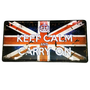 "Decor - ""Keep Calm And Carry On"" Union Jack Vintage License Plate Wall Decor Sign"