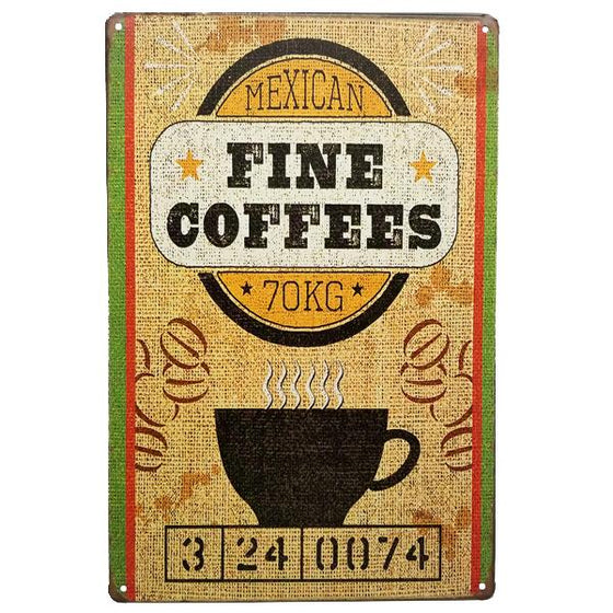 "Decor - ""Mexican Fine Coffees"" Vintage Collectible Metal Wall Decor Sign"