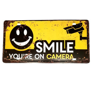 "Decor - ""SMILE You're On Camera"" Vintage License Plate Wall Decor Sign"