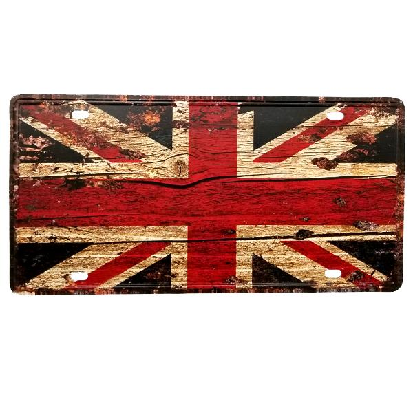 Decor - Union Jack Vintage License Plate Wall Decor Sign